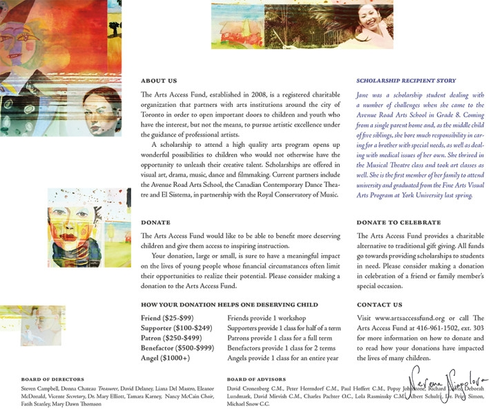 Arts Access Fund Brochure