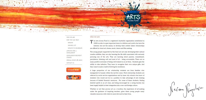 Arts Access Fund Website